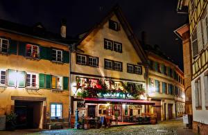 Bilder Neujahr Frankreich Straßburg Haus Straße Nacht Café