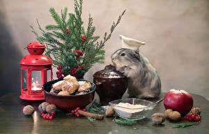 Hintergrundbilder Neujahr Hausmeerschweinchen Kerzen Kekse Äpfel Schalenobst Zimt Ast Laterne Lebensmittel