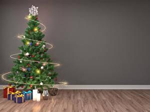 Bilder Neujahr Feiertage Kerzen Wände Weihnachtsbaum Geschenke Lichterkette 3D-Grafik