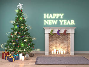 Images Christmas Holidays Interior Candles English Design Christmas tree Present Fairy lights Fireplace 3D Graphics
