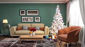 Papéis de parede Ano-Novo Feriados Design de interiores Design Árvore de Natal Sofá Presentes Poltrona 3D Gráfica