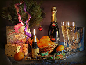 Wallpaper Christmas Holidays Still-life Champagne Mandarine Candy Bottles Stemware Gifts Food