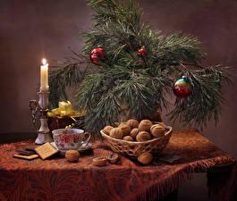 Hintergrundbilder Neujahr Feiertage Stillleben Nussfrüchte Kerzen Kekse Ast Kugeln Tasse Lebensmittel
