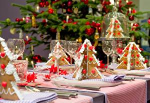 Hintergrundbilder Neujahr Feiertage Servieren Backware Weinglas Weihnachtsbaum das Essen