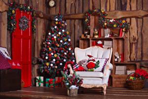 Papéis de parede Ano-Novo Feriados Muro Árvore de Natal Poltrona Presentes Cesta de vime