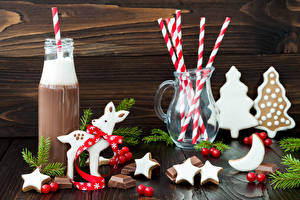 Photo Christmas Cocoa Cookies Sweets Chocolate Deer Bottle Pitcher Little stars