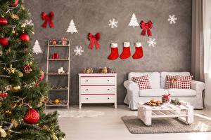 Wallpaper New year Interior Christmas tree Sofa Socks Bowknot Pillows