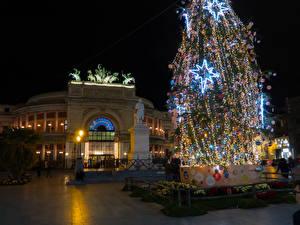 Fotos Neujahr Italien Autonome Region Sizilien Haus Denkmal Weihnachtsbaum Lichterkette Nacht Palermo