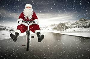 Photo New year Santa Claus Uniform Bicycle Snow Snowflakes funny