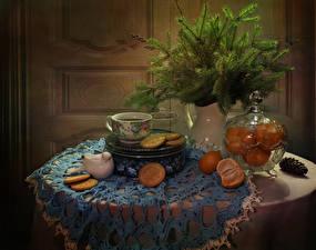 Hintergrundbilder Neujahr Stillleben Mandarine Kekse Ast Tisch Tasse Lebensmittel