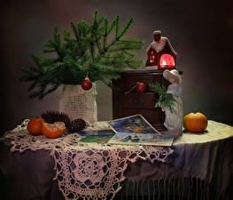 Hintergrundbilder Neujahr Stillleben Mandarine Haus Kerzen Ast Zapfen