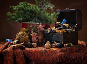 Bilder Neujahr Stillleben Nussfrüchte Bonbon Schokolade Ast Schatztruhe das Essen