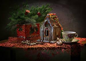 Bilder Neujahr Stillleben Backware Haus Kekse Ast Tasse das Essen