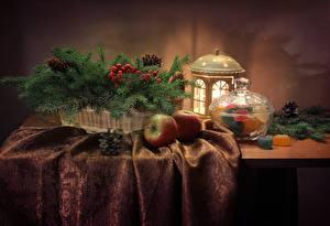 Hintergrundbilder Neujahr Stillleben Süßigkeiten Marmelade Äpfel Ast Laterne Zapfen Tisch Lebensmittel