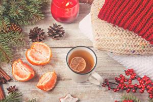 Hintergrundbilder Neujahr Tee Mandarine Beere Ast Zapfen Becher Lebensmittel
