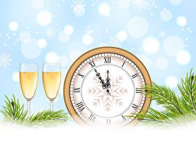 Fotos Neujahr Vektorgrafik Uhr Champagner Weinglas Zwei Ast das Essen