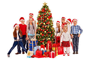 Photo New year White background Boys Little girls Winter hat Christmas tree Gifts Children