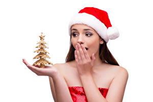 Hintergrundbilder Neujahr Weißer hintergrund Mütze Tannenbaum Hand Überraschtes junge Frauen
