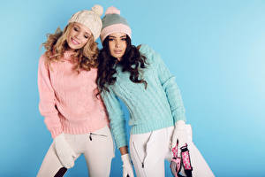 Wallpaper Colored background Two Winter hat Sweater Glove Girls