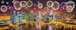 Bilder Feuerwerk Haus Singapur Nacht Megalopolis Städte