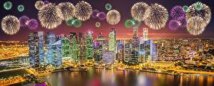 Wallpaper Fireworks Houses Singapore Night time Megalopolis Cities