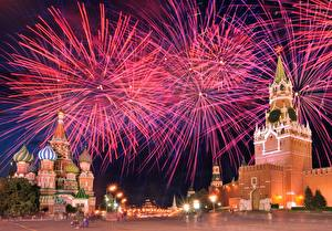 Image Fireworks Moscow Russia Moscow Kremlin Cities