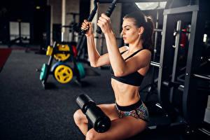 Bilder Fitness Trainieren Braunhaarige Hand Mädchens Sport