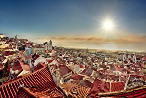 Tapety na pulpit Budynki Portugalia Lizbona Dach
