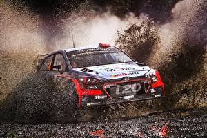 Fondos de escritorio Hyundai Rally Barro Salpicadura de agua i20 WRC Coches