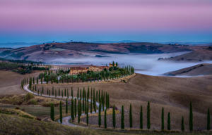 Wallpaper Italy Tuscany Roads Fields Hill Fog Trees Nature