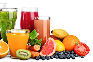 Wallpapers Juice Blueberries Citrus Tomatoes Chinese gooseberry White background Highball glass Food