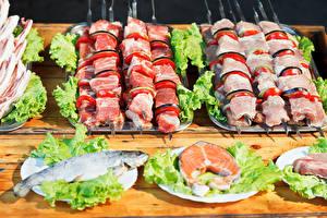 Papel de Parede Desktop Produtos de carne Shashlik Peixes - Alimentos Hortaliça comida
