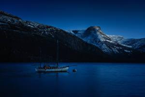 Hintergrundbilder Norwegen Berg Fluss Jacht Nacht Natur