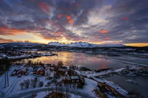 Fotos Norwegen Landschaftsfotografie Winter Himmel Flusse Haus Schnee Bodo Natur