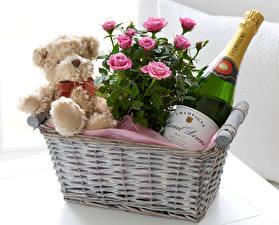 Bilder Rose Schaumwein Knuddelbär Weidenkorb Rosa Farbe Flasche Blüte