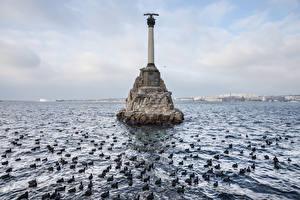 Fotos Russland Krim Meer Denkmal Sevastopol, Monument to the Scuttled Ships Natur