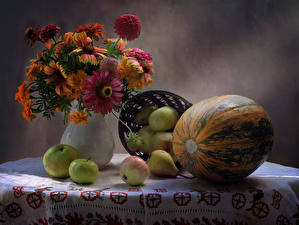Images Still-life Bouquet Tagetes Pumpkin Apples Pears Flowers Food