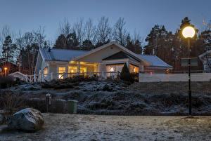 Fotos Schweden Haus Abend Winter Straßenlaterne Städte
