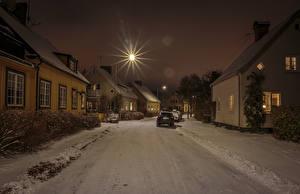 Bilder Schweden Stockholm Haus Winter Stadtstraße Schnee Straßenlaterne Nacht Städte