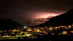 Images Switzerland Building Mountain Night time Wetterleuchten Gluringen Cities