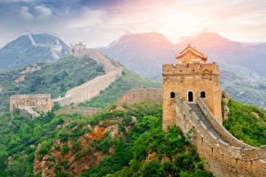 Fotos China Chinesische Mauer Berg Wälder Natur