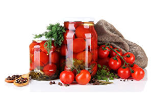 Hintergrundbilder Tomate Gewürze Dill Weißer hintergrund Weckglas Lebensmittel