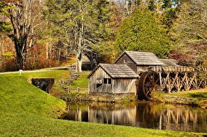 Hintergrundbilder USA Herbst Wassermühle Mabry Mill Virginia