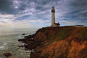 Hintergrundbilder Vereinigte Staaten Küste Leuchtturm Herbst Himmel Kalifornien Felsen Pescadero Natur
