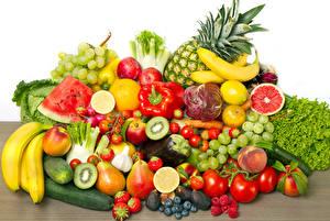 Bilder Gemüse Obst Tomaten Bananen Beere Weintraube Wassermelonen Gurke Paprika Pfirsiche