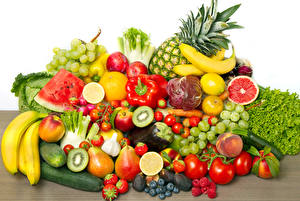 Wallpapers Vegetables Fruit Tomatoes Bananas Berry Grapes Watermelons Cucumbers Bell pepper Peaches Food