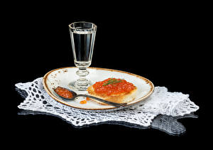 Images Vodka Butterbrot Caviar Seafoods Black background Plate Shot glass Spoon