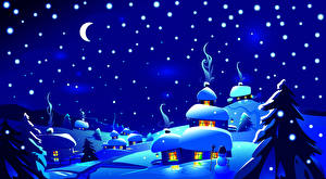 Fotos Winter Himmel Vektorgrafik Schnee Mond Nacht Fichten Natur