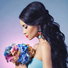 Picture Bouquets Brunette girl Earrings Girls