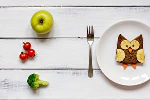Bilder Brot Äpfel Tomate Bretter Frühstück Teller Design Essgabel